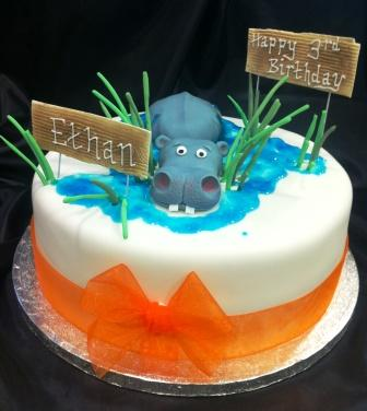 Happy Hippo Birthday Cake