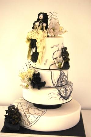 Marie Antoinette Inspired Pirate Wedding Cake