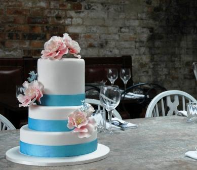 Pink and Blue Peony Wedding Cake