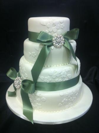 4 Tier Sage Green Wedding Cake