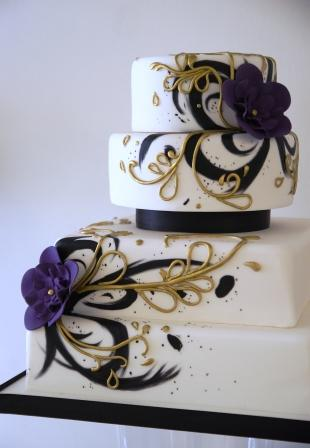 Painted Purple and Gold Wedding Cake - Sweet Serenity