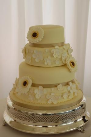 White Chocolate and Gerbera Wedding Cake