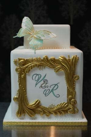 Gold Frame Wedding Cake