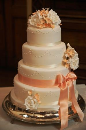 Coral Pink and White Rose Wedding Cake