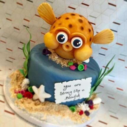 """Strong Like A Blowfish"" Cake"