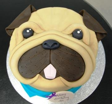 Pug Face Birthday Cake