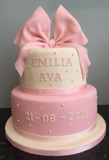 Dots and Bows Christening Cake