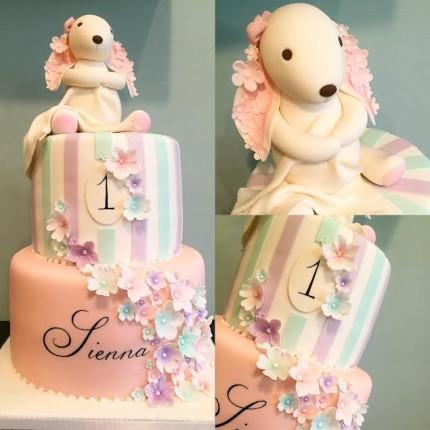 Pastel Bunny 1st Birthday Cake