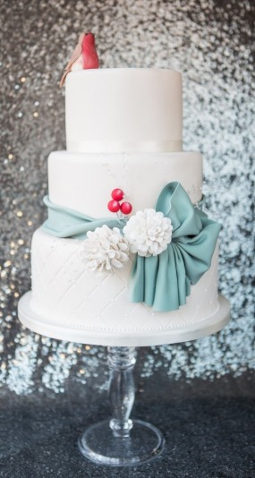 Winter Berries Wedding Cake
