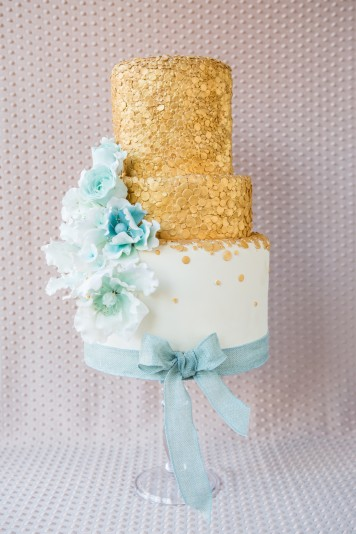 Gold and Teal Sequin Wedding Cake
