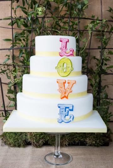 Colours of Love Wedding Cake