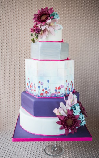 Modern Purple Painted Wedding Cake