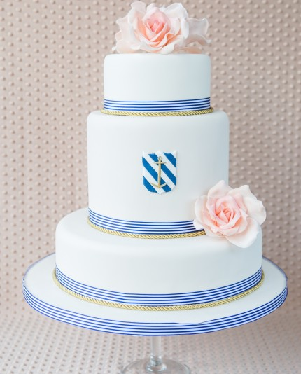 Nautical Rose Wedding Cake