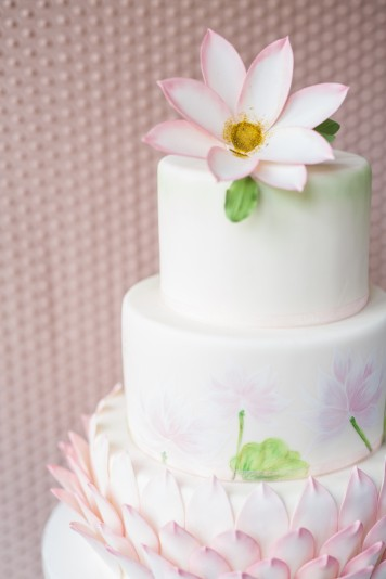 Lotus Flower Ivory Wedding Cake